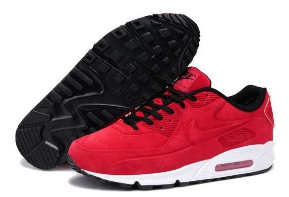 Зимние Nike Air Max 90 VT с мехом красные (35-39)