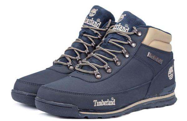 Ботинки Timberland Euro Sprint Blue нубук с мехом синие 41-46