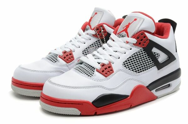 Nike Air Jordan 4 Retro белые с красным и черным (39-45)