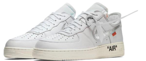 Nike Air Force 1 07 LV8 белые с серебристым кожаные мужские-женские (35-44)