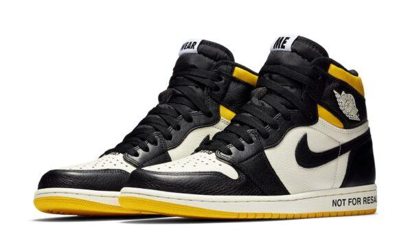 Nike Air Jordan 1 not for resale черно-белые с желтым кожаные мужские (40-44)