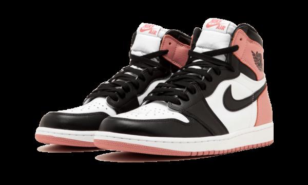 Nike Air Jordan 1 Retro черно-бело-розовые кожаные женские (35-39)