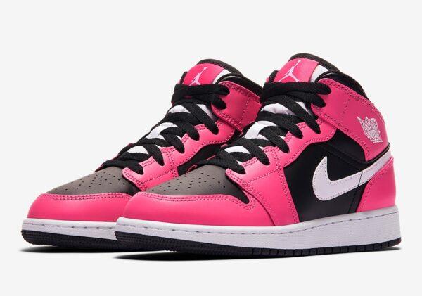 Nike Air Jordan 1 Retro черно-розовые кожаные женские (35-39)
