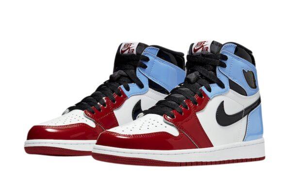 Nike Air Jordan 1 Retro Fearless красно-бело-голубые с черным кожаные мужские-женские (35-44)