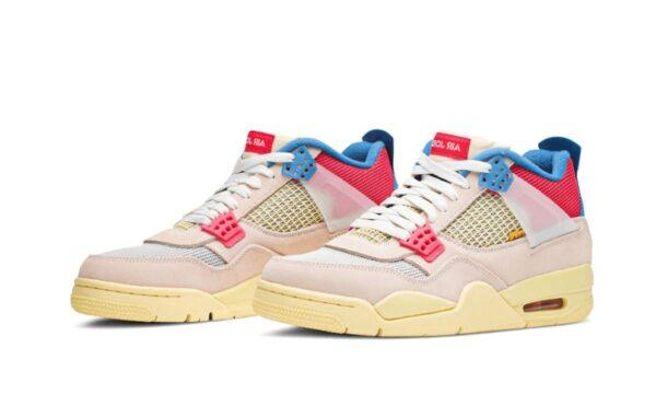 Nike Air Jordan 4 Retro белые с красно-синим нубук мужские (40-44)
