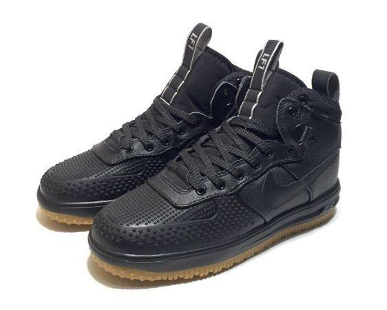 Зимние Nike Air Force 1 Lunar Duckboot с мехом черные кожаные мужские (40-44)