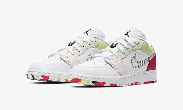 Nike Air Jordan 1 Low GS белые с розовым кожаные женские (35-39)