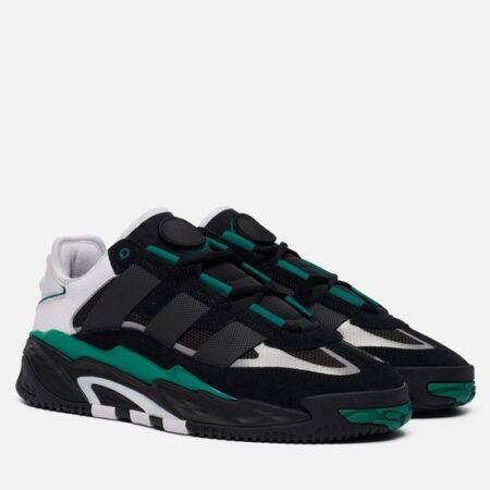 Adidas Niteball черные с зеленым кожа-нубук мужские-женские (35-44)