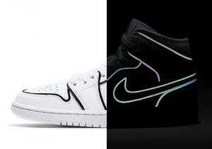 Nike Air Jordan 1 Mid Iridescent Reflective White белые кожаные женские (35-39)